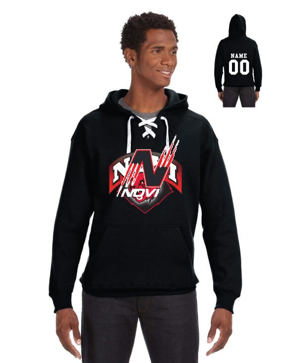 Novi Hockey Lace hoodie Cat Logo