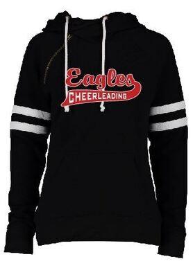 Eagle Cheer or Football Swoosh Ladies Varsity Pullover Hoodie