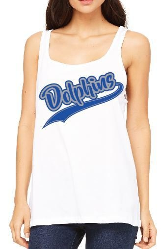 Bella + Canvas Ladies' Relaxed Jersey Tank with Dolphin Design