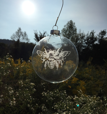 Hand Etched Honey Bee Glass Ornament