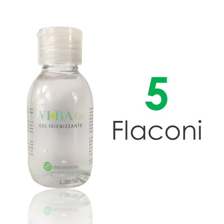 5 Flaconi VIBAKILL Igienizzante Mani 100ml - Con Aloe, Oli essenziali di Bergamotto e Limone