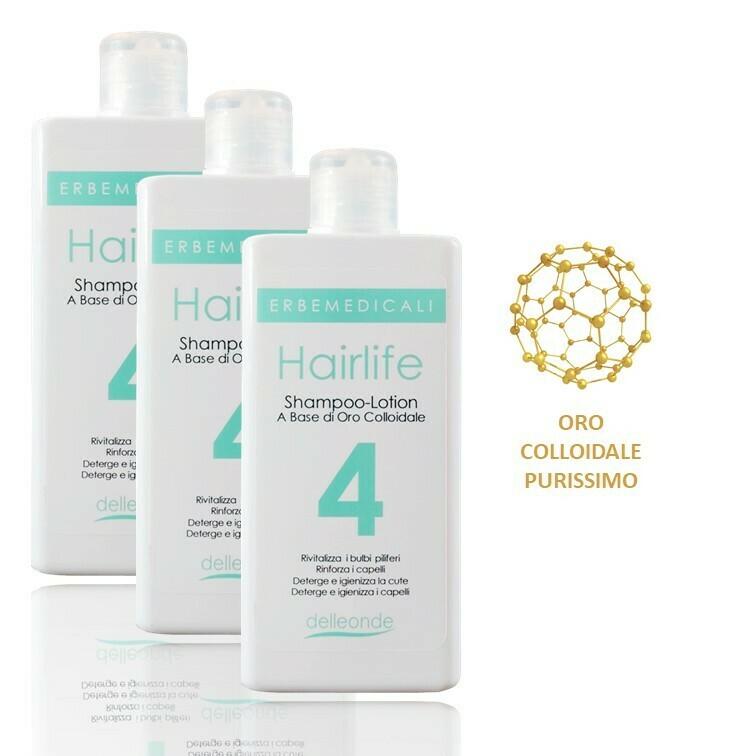 3 Confezioni HAIRLIFE4® - SHAMPOO LOTION ANTICADUTA CAPELLI 225ml - A Base Di Oro Colloidale e Vitamine B5 e B8
