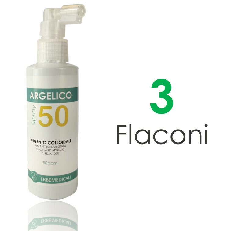 3 Flaconi ARGELICO® - Argento Colloidale Purissimo 50 PPM - 150ml