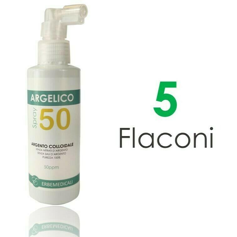 5 Flaconi ARGELICO® - Argento Colloidale Purissimo 50PPM - 150ml