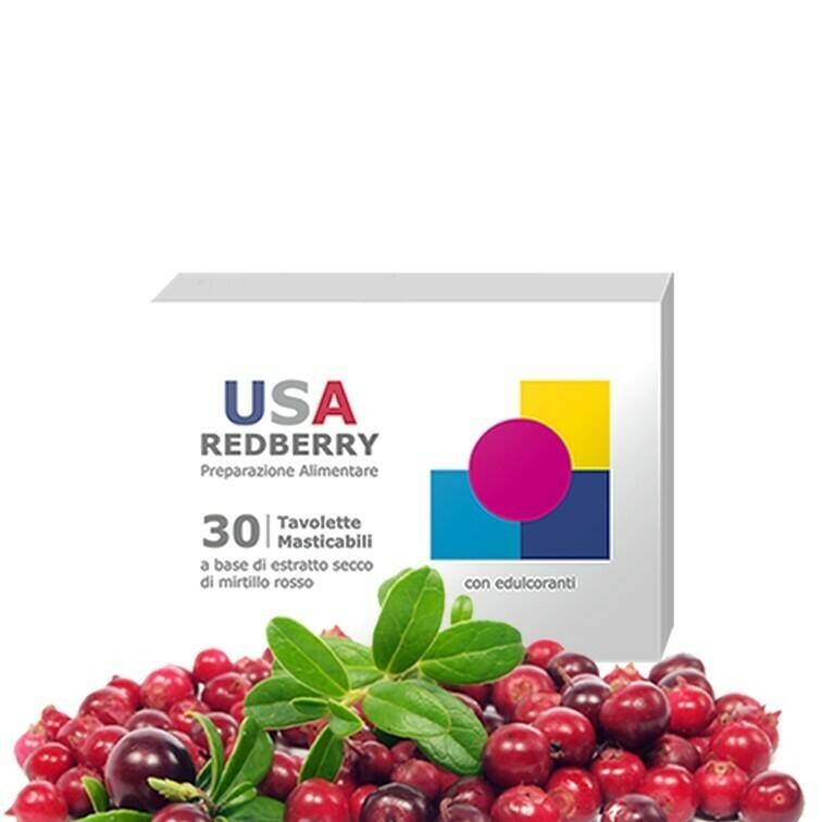 1 Confezione USA REDBERRY - Compresse di Purissimo Mirtillo Rosso Canadese