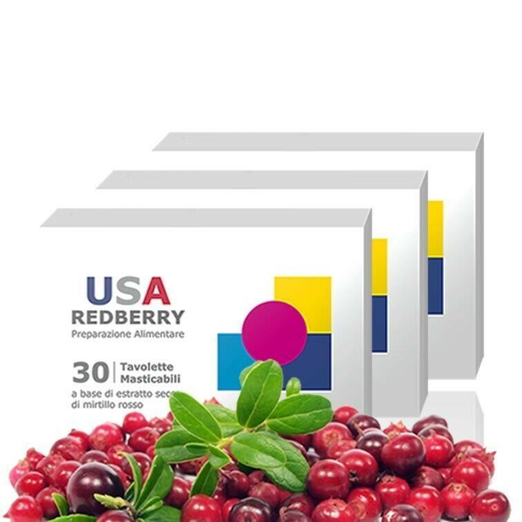 3 Confezioni USA REDBERRY - Compresse di Purissimo Mirtillo Rosso Canadese