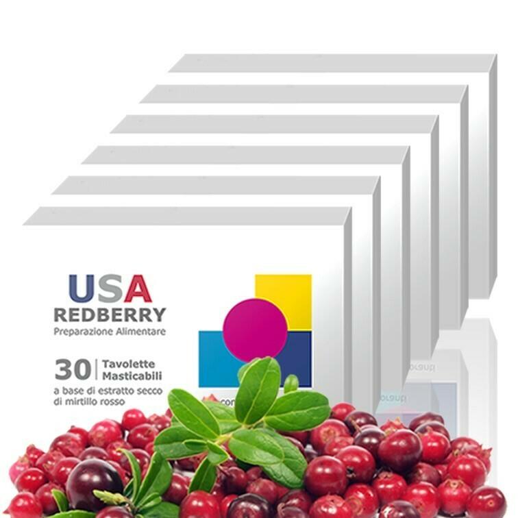 6 Confezioni USA REDBERRY - Compresse di Purissimo Mirtillo Rosso Canadese