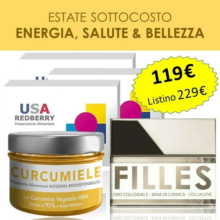 PROMO ENERGIA, SALUTE E BELLEZZA: 3 Redberry + 1 Curcumiele 110g + 1 Crema Filles