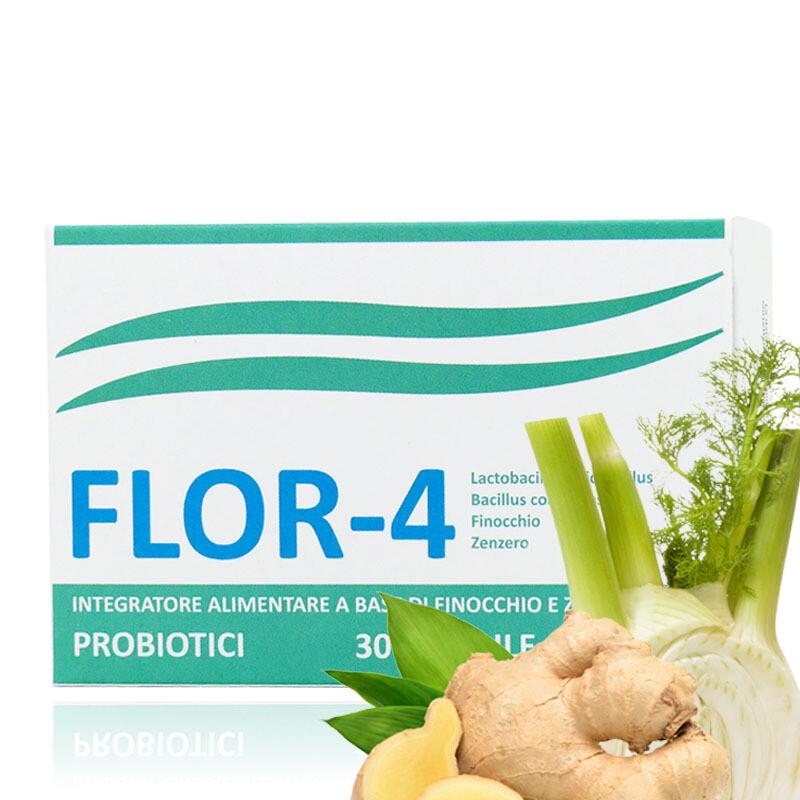 FLOR4 Probiotici - 30 Capsule - Regolarizza Intestino e Potenzia Sistema Immunitario