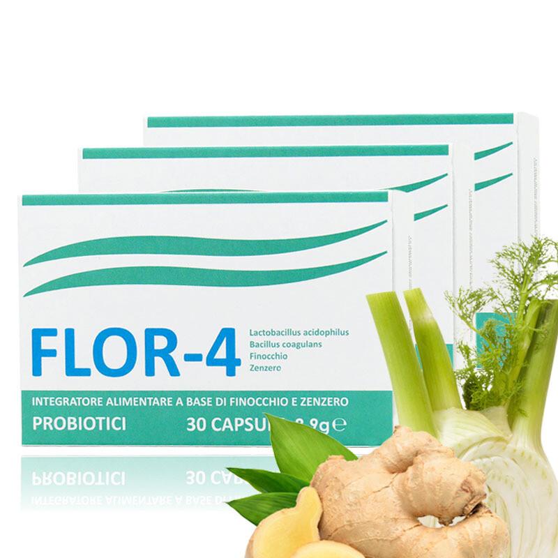 3 Conf. FLOR4 Probiotici - 30 Capsule - Regolarizza Intestino e Potenzia Sistema Immunitario