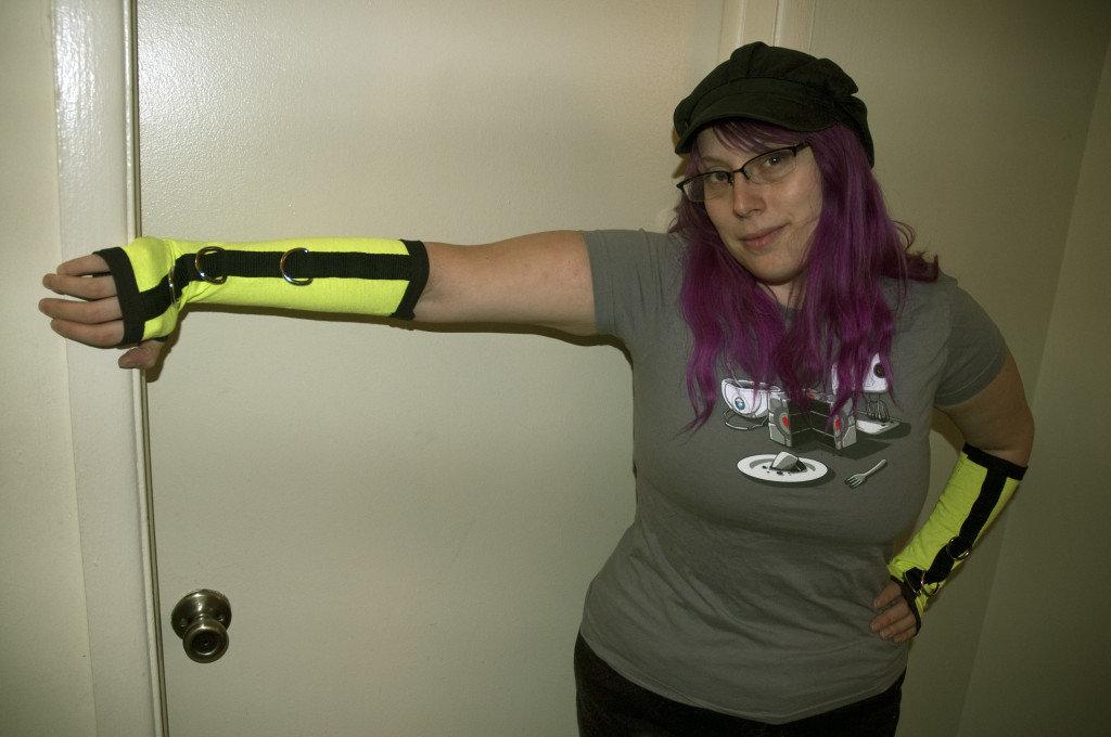 Custom Black & Yellow UV Reactive Arm Warmers A-003
