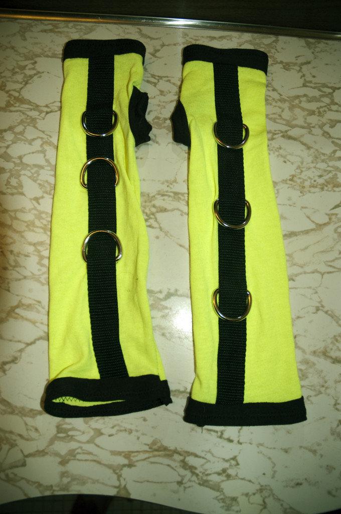 Custom Black & Yellow UV Reactive Arm Warmers