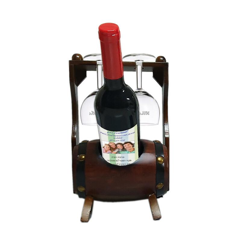 מארז חבית יין ושתי כוסות בהקדשה אישית