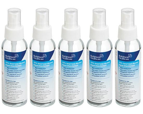 70% Isopropyl Alcohol (IPA) Hand Disinfectant Spray - 5 x 100ml