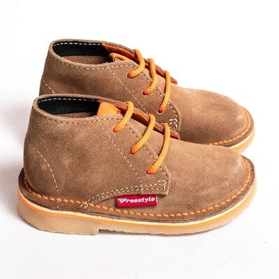 Kiddies Retro Veldskoen Suede Khaki/Orange