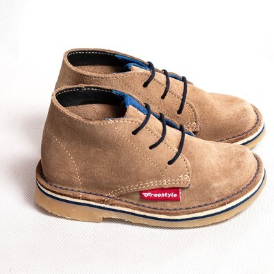 Kiddies Retro Veldskoen Suede Khaki/Navy
