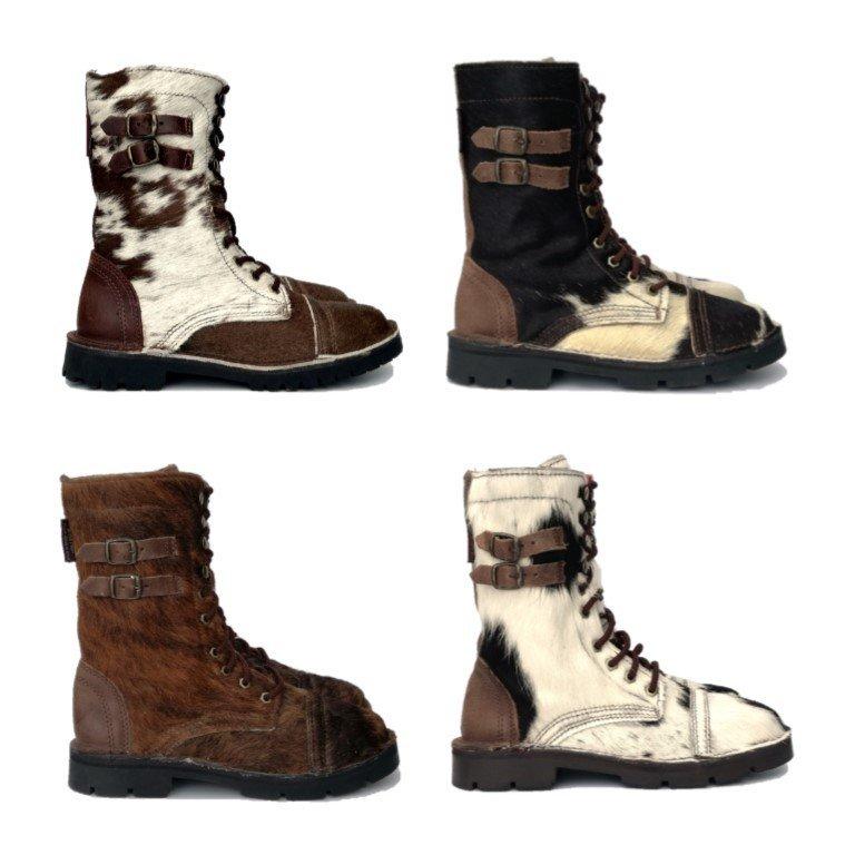 Combat Boot Nguni Hair-On Black/White