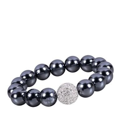 Bracelet Perles Couleur Grise