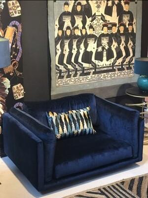 Love seat blue velvet