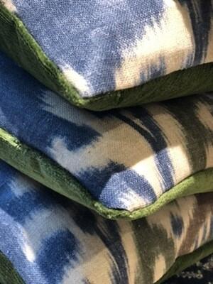 Blue ikat pillow