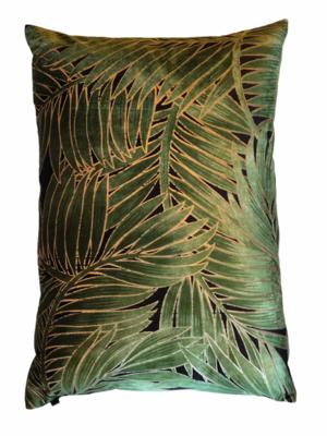 Pillow green velvet leaves