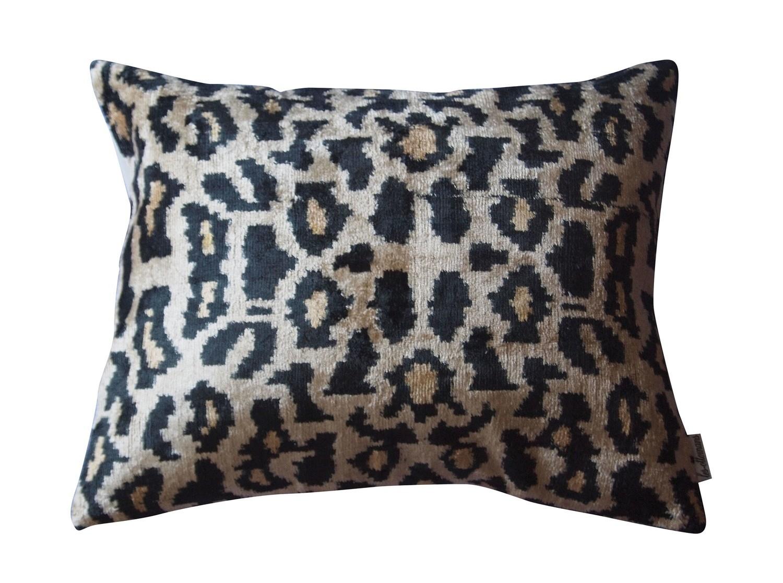 Silk ikat & velvet pillow