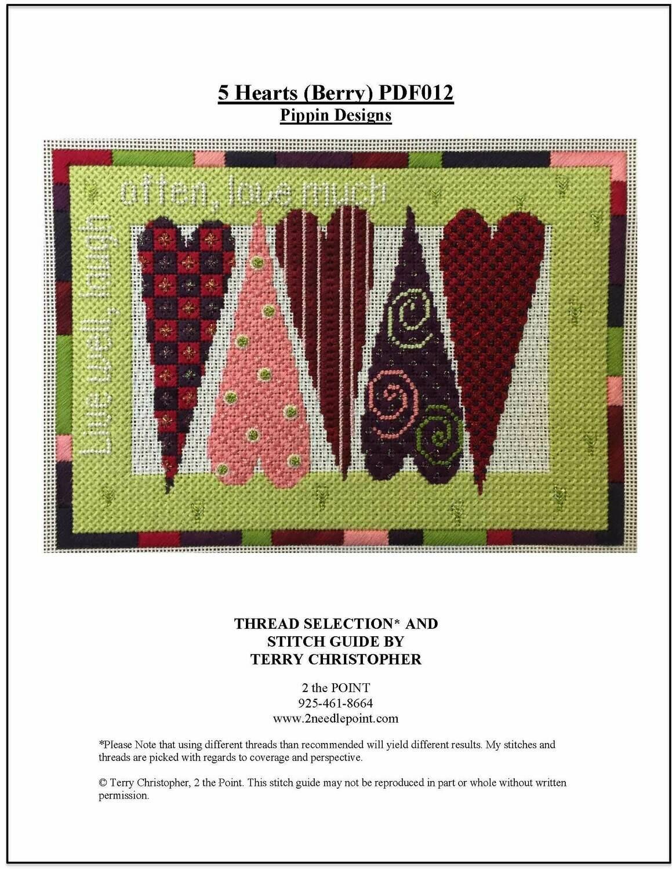 Pippin Designs, 5 Hearts (Berry)  PDF012