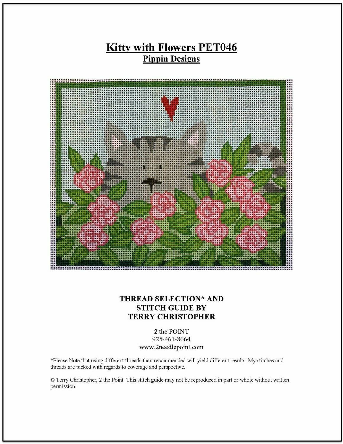 Pippin Designs, Kitty with Flowers PET046