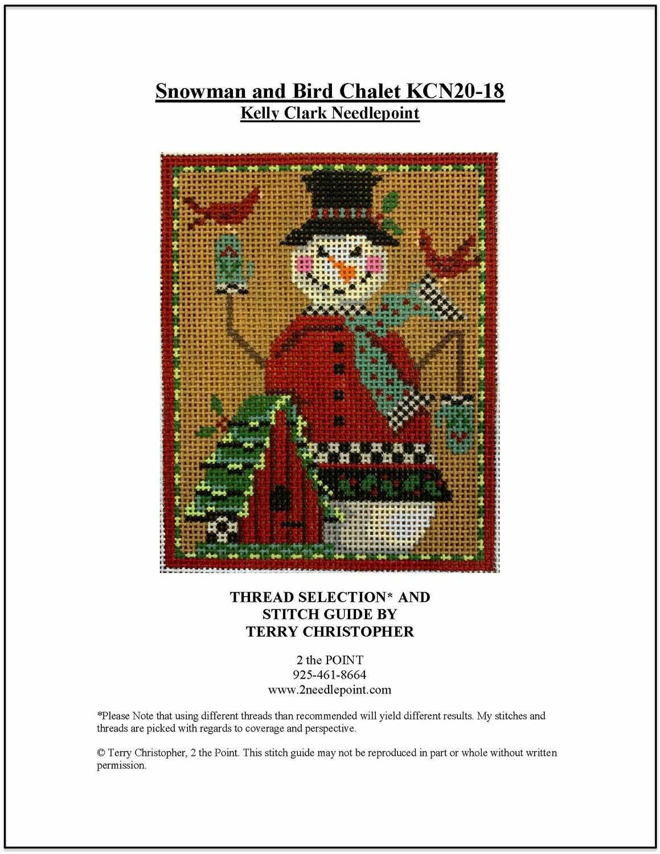 Kelly Clark Needlepoint, KCN20 Snowman & Bird Chalet