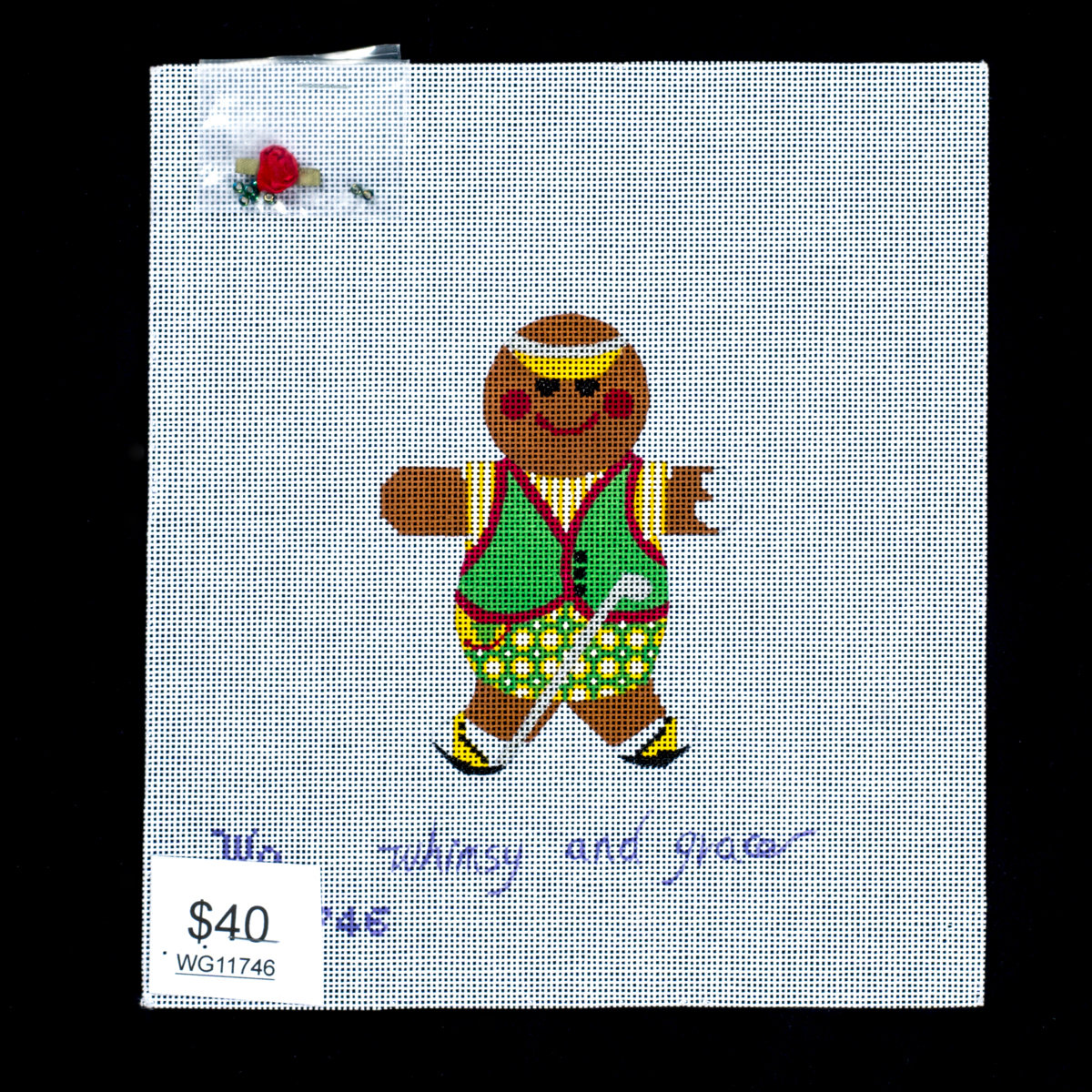 Whimsy & Grace, Golfing Gingerbread with embellishment, WG11746