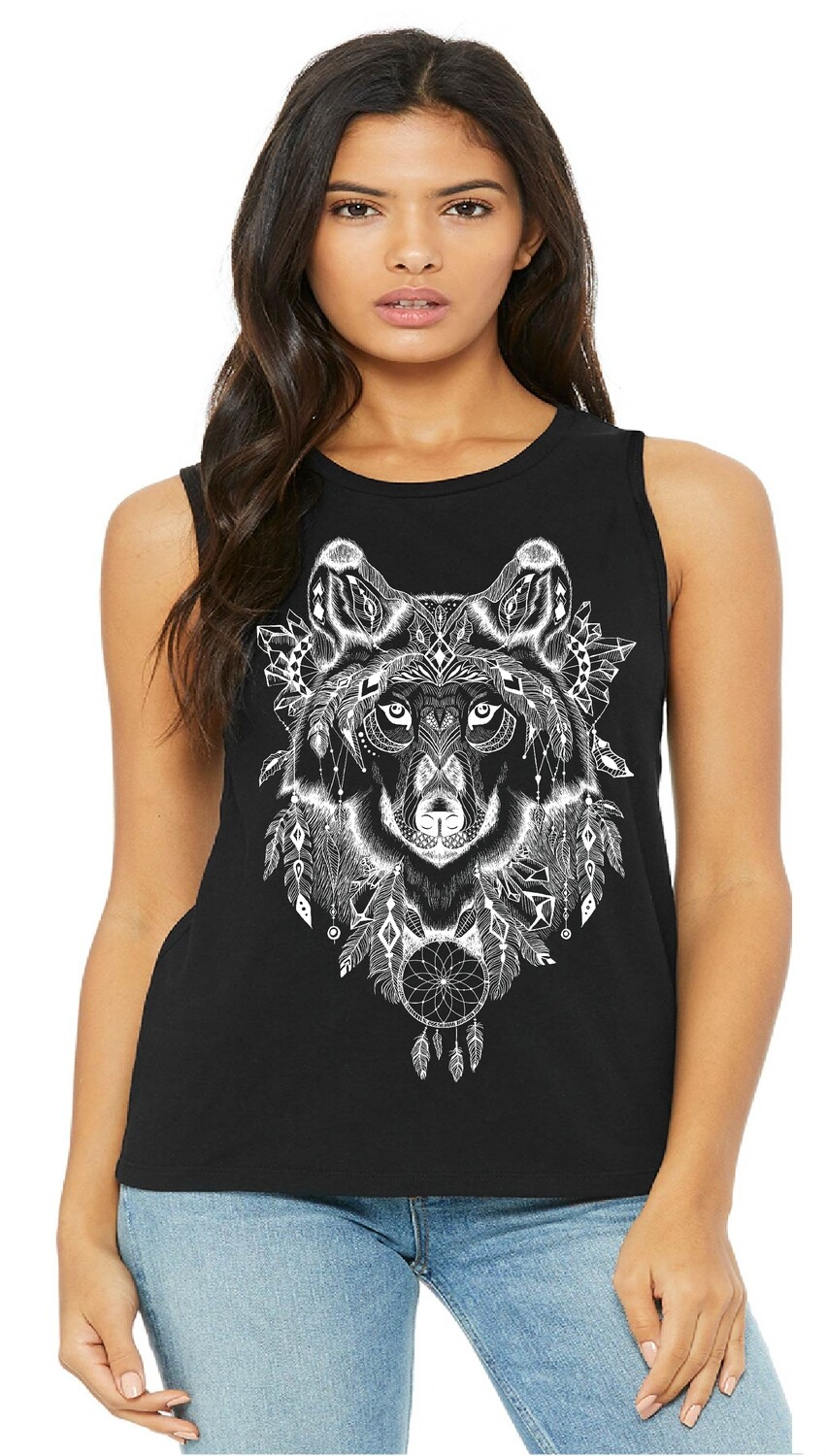 NATIVE WOLF DREAM CATCHER LADIES TOP  FREE SHIPPING