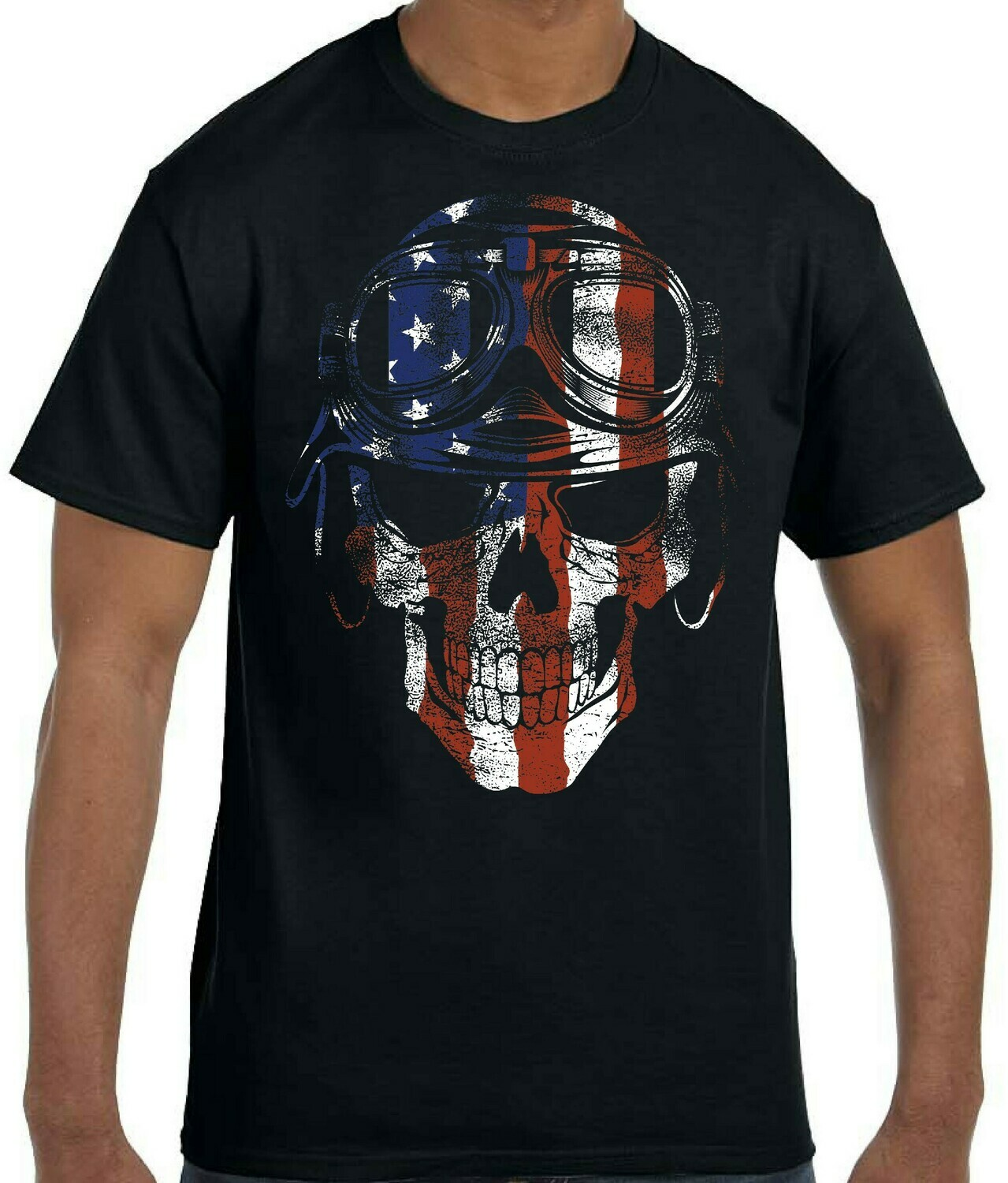 Distressed Patriotic Scull in Helmet and Goggles FREE SHIPPING