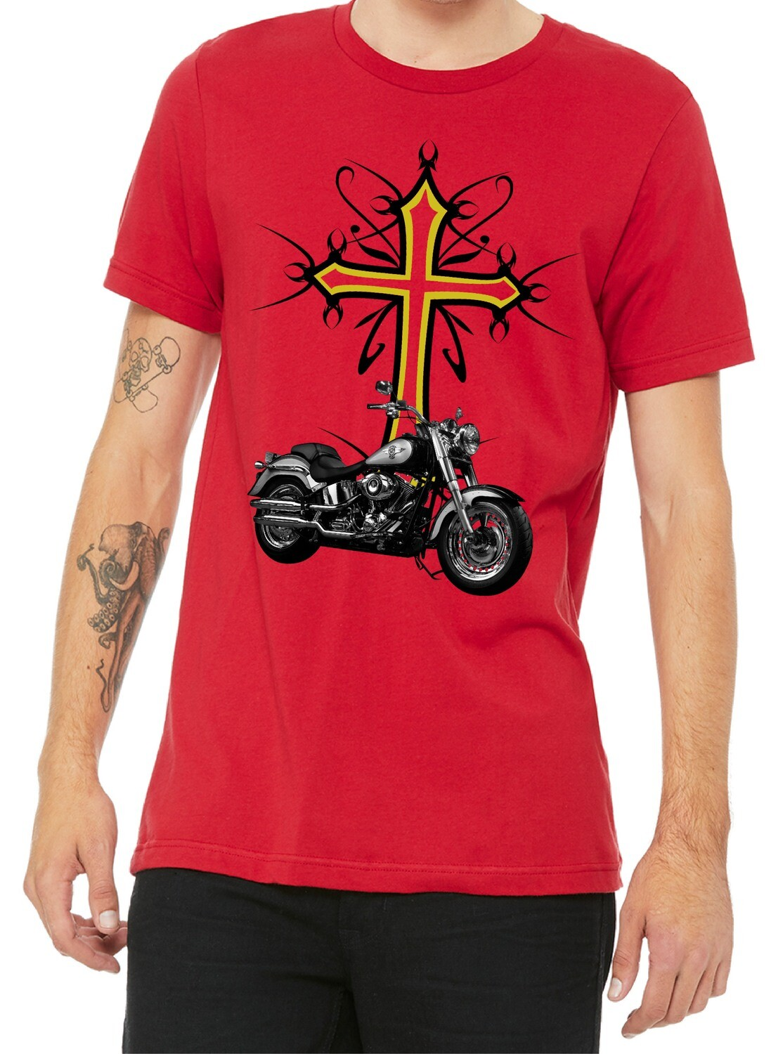 CELTIC CROSS MOTORCYCLE SHIRT FREE SHIPPING