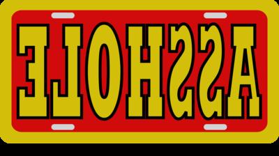 License Plate ASSHOLE