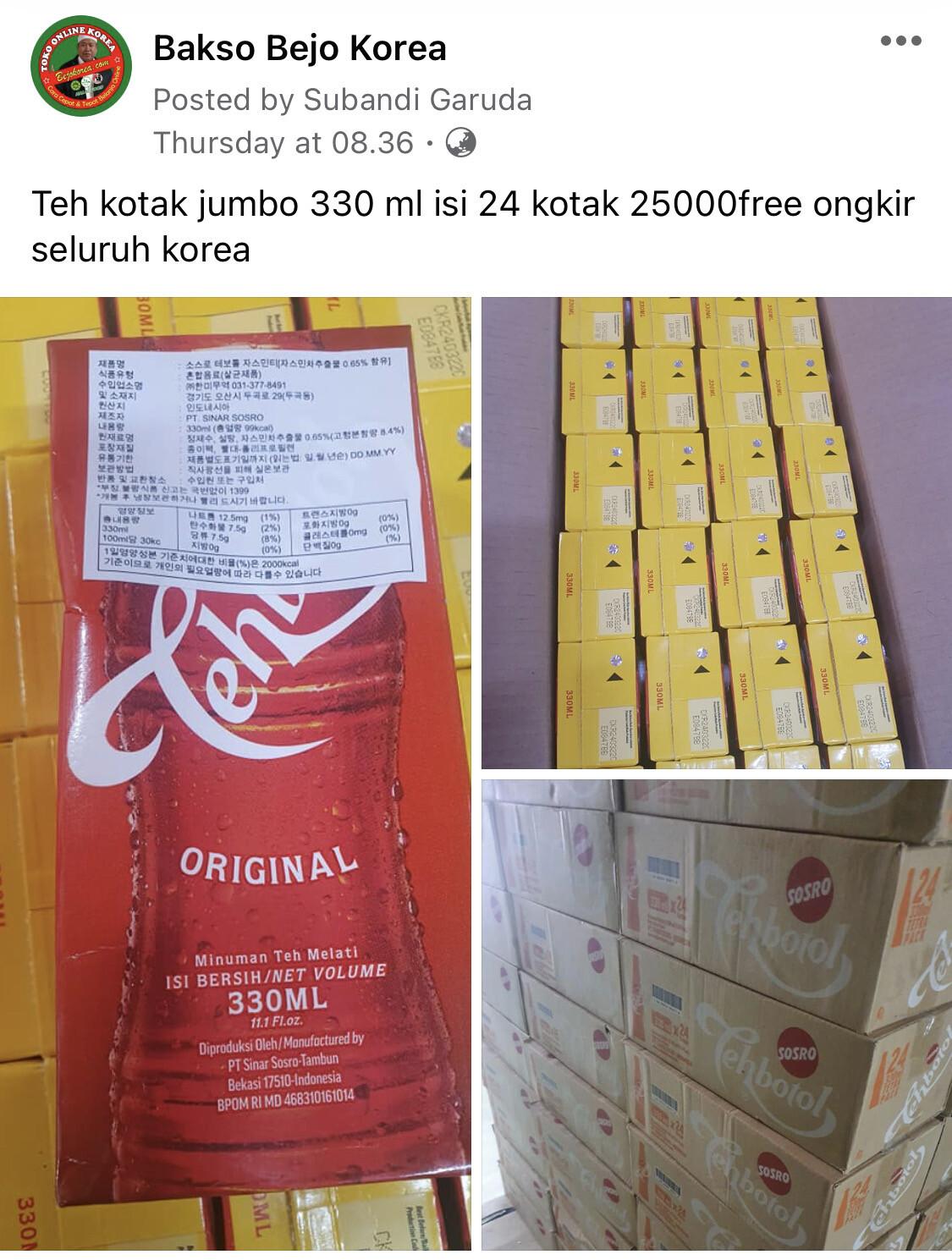Promo Teh Botol Kotak 330 ml (per Kardus 24 Kotak) Free Ongkir