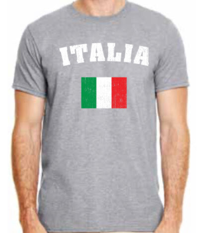 Rubino's Italia with Flag Shirt - Grey