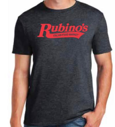 Rubino's Heather Grey T Shirt with Red Writing