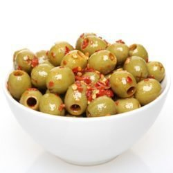Hot Garlic Pitted Green Olives - 1/2Lb
