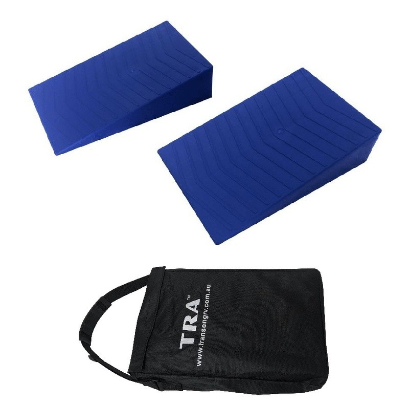 BLUE Wedge tandem caravan rv levelling ramps (pair) with bag