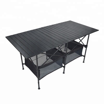 140cm Black Portable Folding Compact Camping Picnic Table