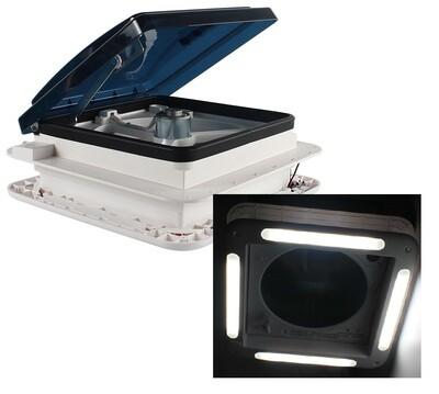 12V SHOWER ROOF VENT WITH LED LIGHTS & TINTED LID