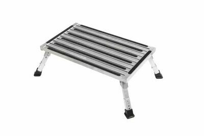 Extra large platform single folding step with adjustable height legs