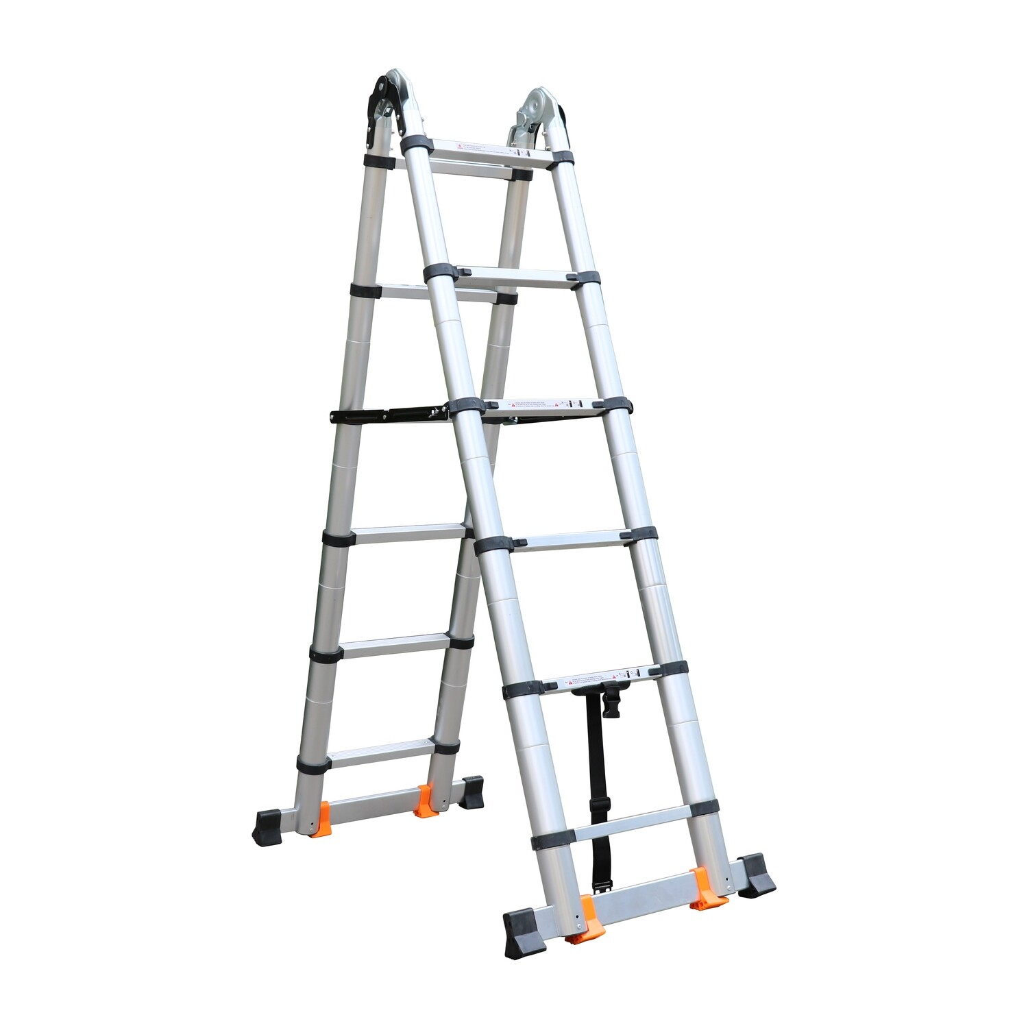 3.8m A-frame Hinged Folding Portable telescopic ladder