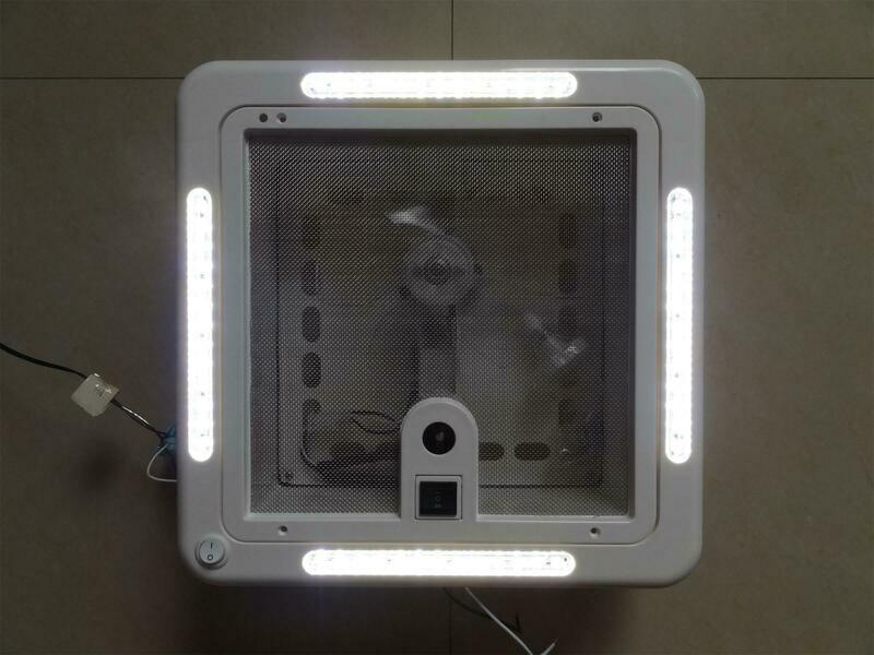 12V SHOWER ROOF VENT WITH LED LIGHTS & WHITE LID