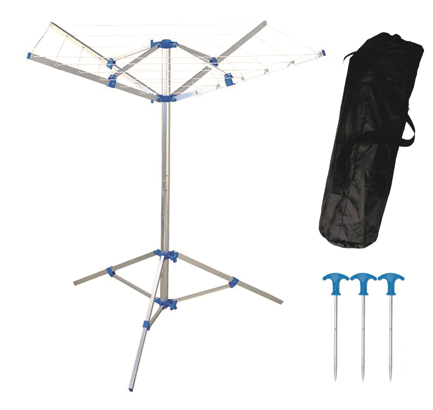 Portable folding rotary camping caravan clothes line with carry bag