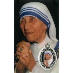 Moeder Theresa  Kaartje met Medaille en Gebed
