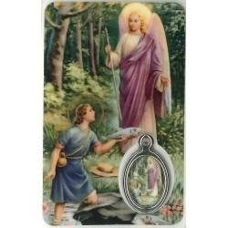 Aartsengel Rafael Kaartje met Medaille en Gebed