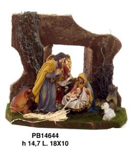 Figuren met kerststal 15 cm
