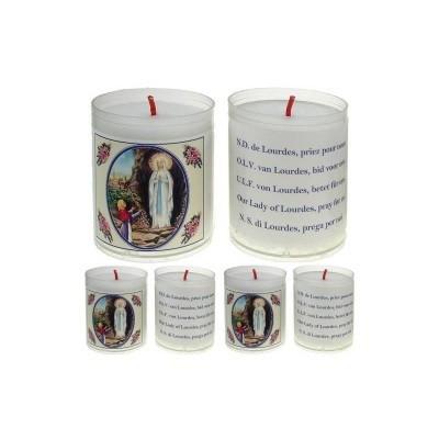 Set van 4 kaarsen LOURDES  - 5 Talen -