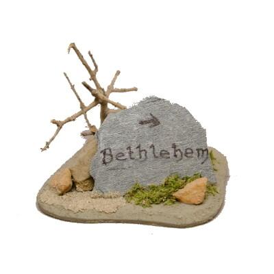 Wegwijzer steen Bethlehem 9x9x9 cm